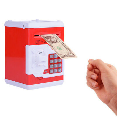 Mini Safe Money Box Coin Saving Electronic Bank Can For Children Kids Gift Red