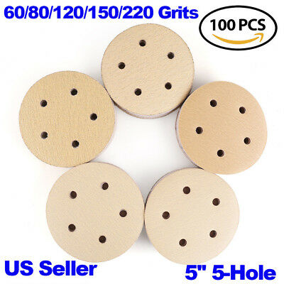 5in 60 80 120 150 220 Grit Sanding Discs Hook and Loop Dustless Sander Sandpaper