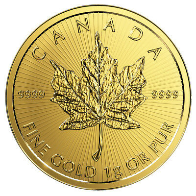 1 Gramm Gold Maple Leaf 2018 Goldmünze 999,9 im Blister aus Maplegram25