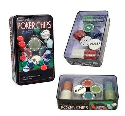 Set completo 100 Fiches Texas Hold'Em-Poker Black Jack + Dealer Gioco da tavolo