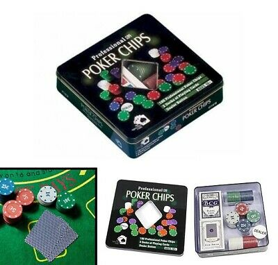 Set completo 100 Fiches Texas Hold'Em-Poker BlackJack 2 MAZZI CARTE Gioco Tavolo