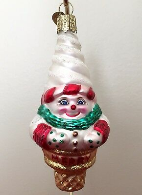 Old World Christmas SNOWMAN ICE CREAM CONE  Glass Christmas Ornament-24009