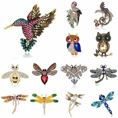 Women Costume Jewellery Animal Pearl Bird Owl Dragonfly Bee Crystal Brooch Pin