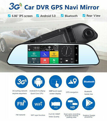 Car DVR Dual Lens HD 1080P Rearview Mirror Dash Cam Recorder Camera GPS 3G Wifi