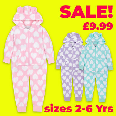 Onezee Girls Kids Hooded All-In-One Jumpsuit Heart Print Snuggle Microfleece