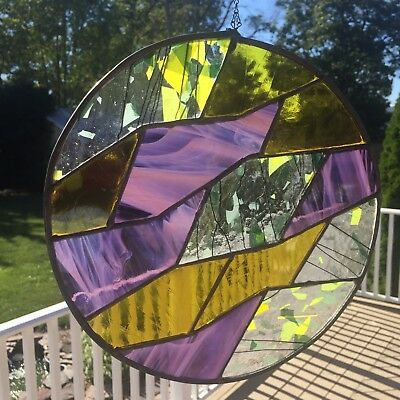 Speckled Cathedral Stained Glass Window Panel Abstract Mandala Suncatcher Framed