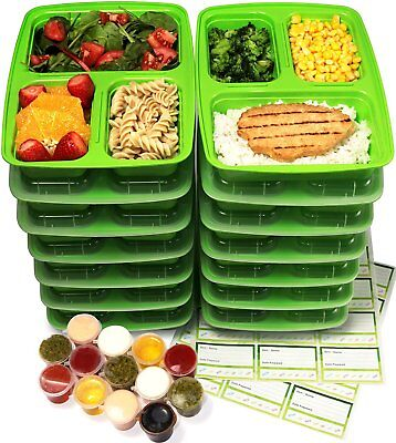 Meal Prep Food Containers 3 Compartment With Sauce Cups Microwave Safe 14 Pack