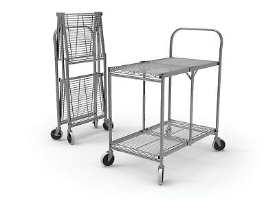 """Collapsible Wire Utility Cart 33.75""""W x 19.5""""D x 39.5""""H Two-Shelf 1 ea"""
