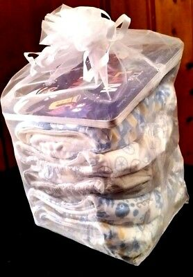 THIRSTIES  5pk All-In-One Reusable Cloth Diaper Ocean Collection Fits 8-40lbs