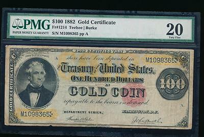AC Fr 1214 1882 $100 Gold Certificate PMG 20 comment