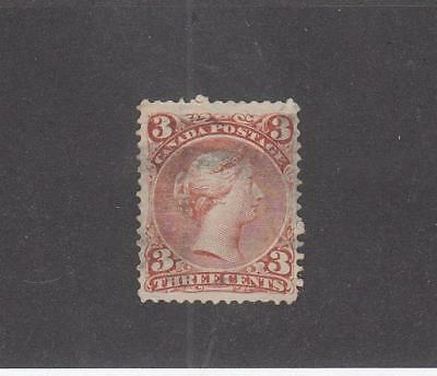 CANADA  (LOT MK761)  #25  F  3cts  LARGE QUEEN  RED  CAT VALUE $20