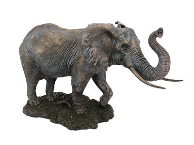 Zeckos Large Bronze Finished Elephant Statue Hand Painted Accents