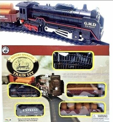 Train Set Locomotive Express and Rail Cars Tracks Battery Operated 18pc