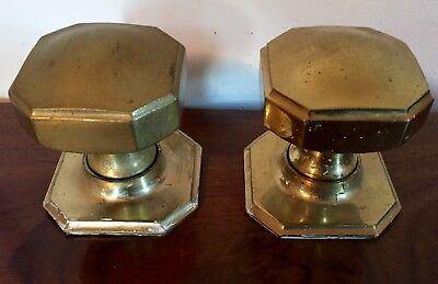 Large Pair Antique Cast Brass Art Deco French Double Door Fixed Knobs Octagonal