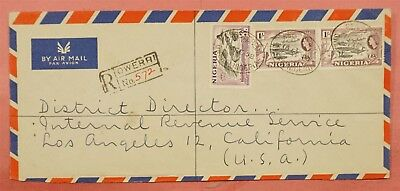 1958 Nigeria Owerri Cancel Registered Airmail Cover To Usa