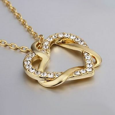 Womens 18k Gold Faux Diamonds Love Heart Pendant Necklace with Swarovski Crystal