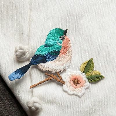 2 pcs Flower Craft Sewing Embroidered Sew/Iron On Applique Patch Birds