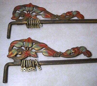 Pair of Antique Ornate Victorian Cast Iron Swing Arm Curtain Rods