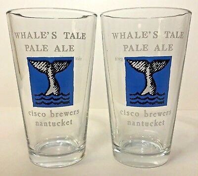 Cisco Brewers WHALE'S TALE PALE ALE Pint Glass 16 oz  Set of Two 2 Glasses ~ NEW