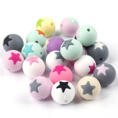 Round Star Silicone Teething Bead Teether DIY Baby Chew Necklace Beads 15mm