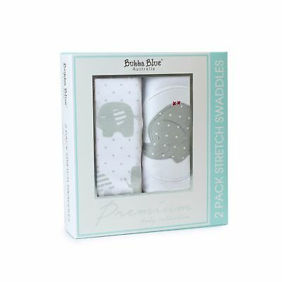 Bubba Blue Baby Stretch Cotton Swaddling Wrap Swaddle Twin Pack Petit Elephant
