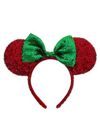 NEW Disney Minnie Mouse Ears Red Green Sequin Headband w/Bow Christmas