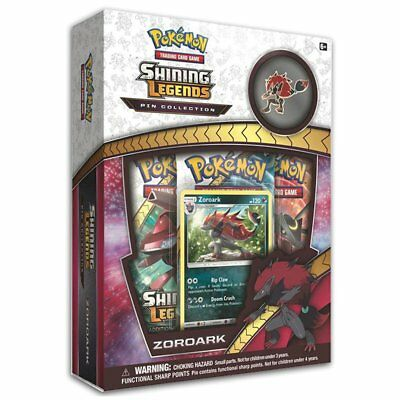 POKEMON TCG Shining Legends Pin Collection Zoroark w/ 3 Booster Packs