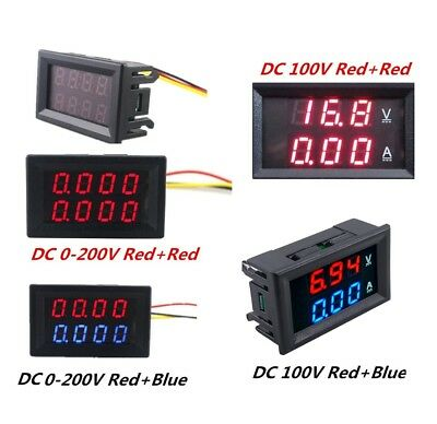 DC 0-200V 100V 10A 3/4 Bit Voltmeter Ammeter Red+Red Red+Blue LED Amp Wires UK