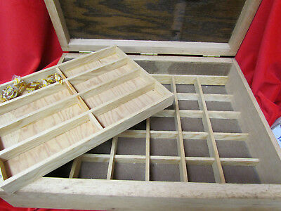 Hand Crafted Oak 38 Division Compartment Collectors Display Storage Box Tray