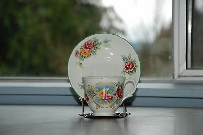 Crown Staffordshire Red & Yellow Rose Green Trim Tea Cup and Saucer