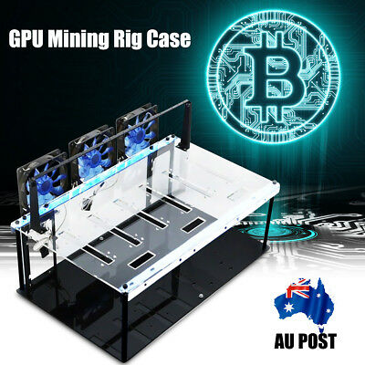 6 GPU's Black Steel Coin Open Air Mining Frame Rig Case up to BTC Ethereum ETH