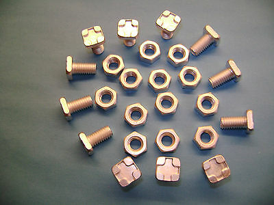 10 to 100 Greenhouse square head 11mm aluminium bolts+nuts (see also our clips