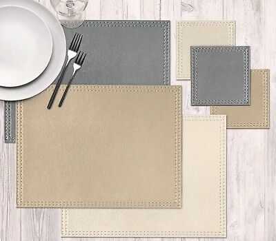 Faux Leather Placemat Set Of 4/8/12 Coasters Easy Clean Kitchen Cream Silver