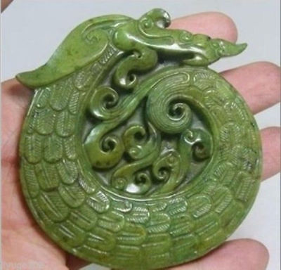 Chinese Old Handwork Green Jade Carved Dragon Pendant #035