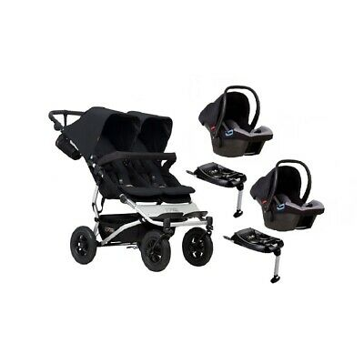 Poussette double Mountain Buggy Duet V3 BLACK + 2 chambres à air de rechange