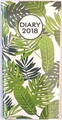 2018 Diary Ozcorp Slim Pocket Softcover (166x86mm) Week to View PD37 Greenery