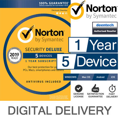 Norton Security Deluxe 2018 (5 Devices/1 Year) Internet Antivirus PC/Mac Licence