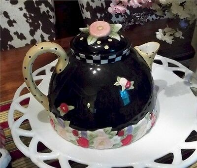 Mary Engelbreit Teapot (Cottage Collection) Rare & Unique Black Yellow