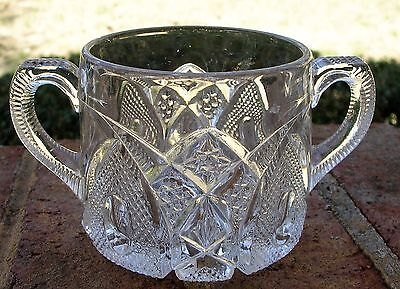 Vintage Antique File Stipple Star Swirl Clear Glass Open Sugar Handled Bowl