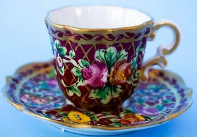 Vintage Limoges La Seynie Miniature Hand Painted Cup and Saucer