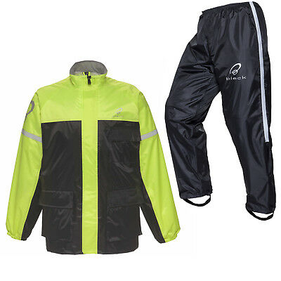 Black Spectre Waterproof Hi-Vis 2 Piece Motorcycle Rain Over Jacket Pants Suit
