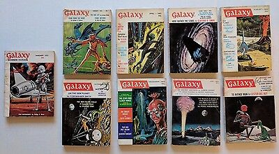 Lot of 9 Galaxy Science Fiction Digest Magazine 1953 1963 1964 Pulp