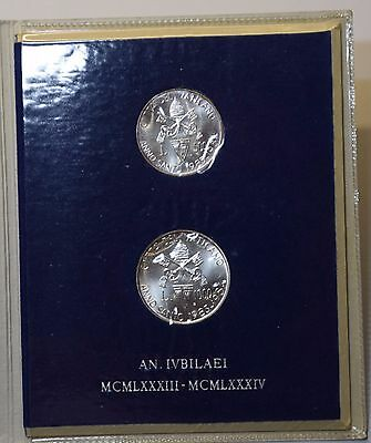 GN251 - Vatican 500 + 1000 Lire 1983-1984 Holy Year Official Coins Mint Set