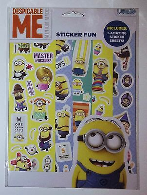 DESPICABLE ME MINIONS STICKERS 5 Sticker Sheets Party Favours Reward Chart NEW