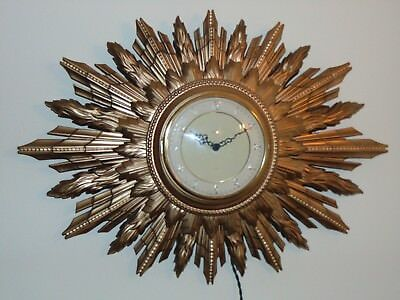 Large Smiths Sunburst Wall Clock Sectric With New Green 2 Core + Pat Tested 20/1