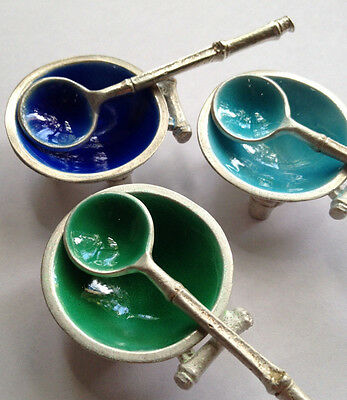 Sterling silver individual salt dishes with spoons, cobalt enamel, aqua, green