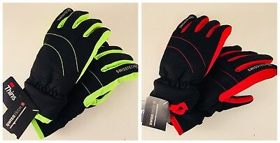 New SwissTech Winter Youth Ski Waterproof Thinsulate Gloves in Neon Green or Red