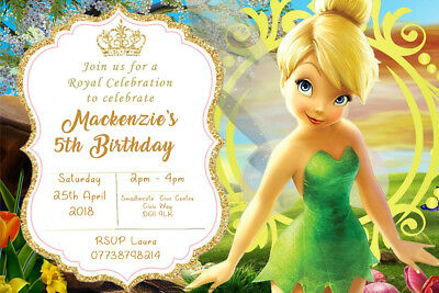 Personalised Tinker Bell Fairy Tinkerbell Birthday Party Invites