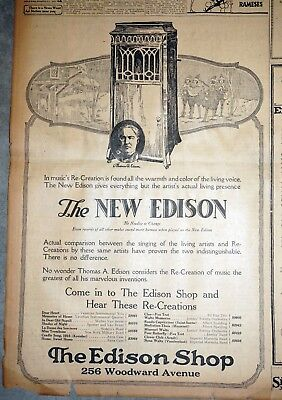Large New Edison Phonograph Ad - 1920 Detroit Newspaper Page