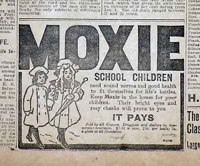 "Moxie ""School Children"" Ad  - 1918 Detroit News Newspaper Page"